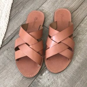 Madewell woven boardwalk sandal in antique coral